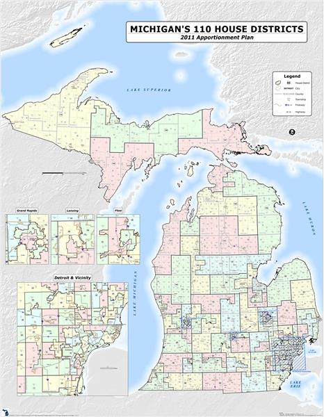 Michigan's 110 House Districts -<br> 2011 Apportionment Plan